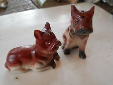** Vintage Pair Boxer Dogs Porcelain Salt Pepper Shakers Made in Japan **