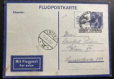 1937 Vienna Austria Postcard Airmail Cover To Aspern Military Flight
