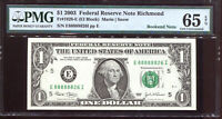 2003 $1 Federal Reserve Note with Fancy NEAR SOLID Serial #E88888826I PMG 65EPQ