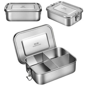 3 Compartments Lunch Box 1200ml Leakproof with Clip Stainless Steel Bento Boxes