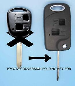 Fits Avensis Corolla Yaris 2 Button TOY47 CONVERSION Flip Remote Key Fob Case