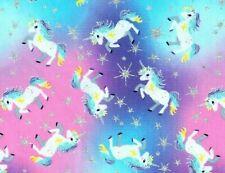 Fat Quarter Unicorns & Stars Fabric Pastel Rainbow Metallic Glitter Unicorn
