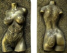 Girl Dragon Tattoo Brass Nude Erotic Female Torso Wall Mount Art Decor Gift