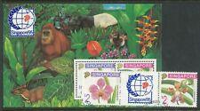 MALAYA SINGAPORE 1995 STAMP EXHIBITION ORCHIDS PAIR & MINISHEET USED BIN £4.50