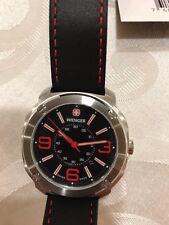 Wenger Men's Escort Swiss Watch Black Band Contrast Red Stitching