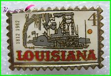 Pin's en forme de timbre La Louisiane LOUISIANA Bateau Port 1812 -1962 4 #H1