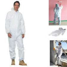 Body Coverall Disposable Hooded Painting Dust Work Cover Front Zipper DIY Care
