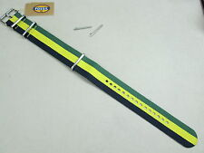 Fossil 22mm Zulu military weaved nylon watch band green yellow navy S221108