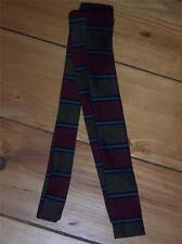 Mens Necktie Gold Burgandy Grey Black Stripe M&W Thomas Superba Cotton Vintage