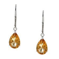 White Gold Pear-Shape Citrine and Diamond Earrings