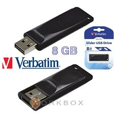 PEN DRIVE Flash USB 2.0 8GB Verbatim Store'n' go 98695 SLIDER NERA RETRATTILE