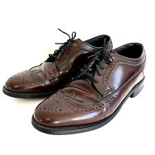 Hanover Shoes Burgundy Wingtips Shell Cordovan Blucher Vintage Sz 8 D