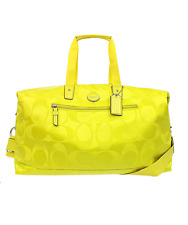 Coach Getaway Signature Citrine Nylon Travel Gym Duffle Bag Tote F77469 Carryall