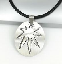 Silver Dog Tag Marijuana Cannabis Weed Pendant Black Leather Surfer Necklace