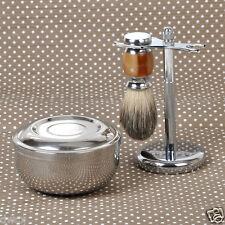 3 in1 Badger Wet Shaving Brush+Razor Stand Holder+ Metal Mug Bowl Set Barber Men