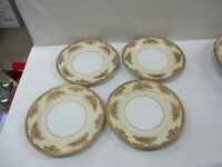 "Noritake Occupied Japan Cream Encrusted Gold Trim 4 Pcs 7-8"" Salad Plates (JB"