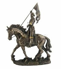 Joan of Arc Sculpture On Horse Back with Flag Statue Figurine
