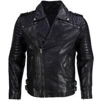 New Men Soft Lambskin Motorcycle Biker Casual Leather Jacket Cafe Racer Vest 729