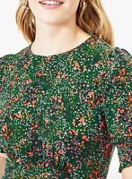 Oasis Confetti Print Short Sleeved Blouse, Green/Multi Sizes  XS-S-M-L-XL
