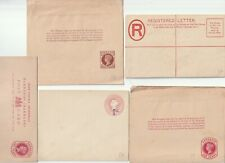 5 DIFF QV UNUSED BARBADOS POSTAL STATIONERY P/C WRAPPERS REGISTERED & O'PRINT