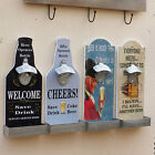 Retro Wall Mounted Wooden Wall Bottle Opener Bar Pub Beer Soda Opener Decor