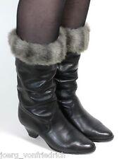 Leder Vintage Stiefel Damenstiefel Blogger Fakefur Winterstiefel Libelle 36,5-37