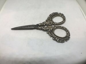 Antique silver sowing scissors