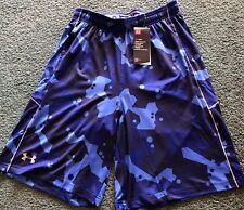 NWT Mens Under Armour L Blue/Navy Geometric Stretch Print Shorts Large