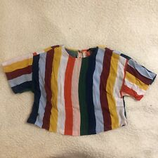 Forever 21 Small Bright Rainbow Color Block Stripe Boxy Crop Top Short Sleeve
