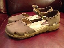 Dansko women's brown leather slip on mary janes size 38 nice shape