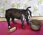 boston terrier dog bowl  on fine art matter paper modern folk art 13x19 gloss