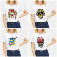 Women Funny Skull Print T-shirt White Casual Tops Short Sleeve Slim Fit Tees