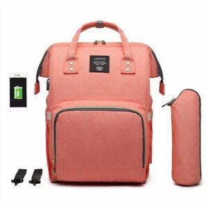 LEQUEEN USB Diaper Bag Backpack Baby Nursing Maternity Mommy Bags Waterproof NEW