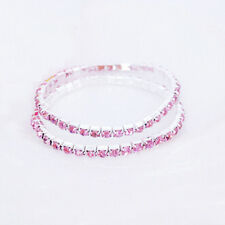 Fashion Tennis Rhinestone Crystal Silver Wedding Bridal Stretch Bracelets Bangle