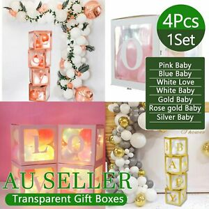 4Pcs/Set LOVE BABY Balloons Box  Clear Gift Boxes Birthday Baby Shower Party