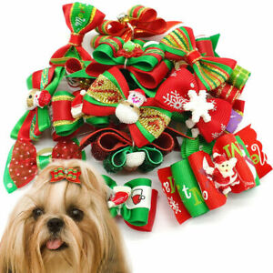 100pcs Christmas Dog Hair Bows with Rubber Bands Xmas Grooming Headdress Topknot