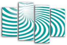 Abstract Wall Art Teal White Grey Stripes Swirls Home Split Canvas Picture