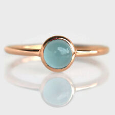 AAA Round Aquamarine Gemstone 14K Yellow Gold March Birthstone Gift Ring Size 7