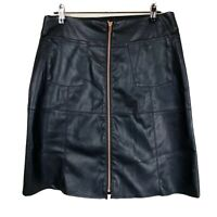 Crossroads Women's Size 10 Black Faux Leather Knee Pencil Skirt Rose Gold Zip