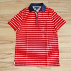 NWT Tommy Hilfiger Mens stripe Polo Shirt regular Fit Mesh Casual soft Cotton