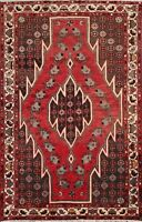 Vintage Geometric Traditional Area Rug Hand-knotted Wool Oriental Carpet 4x7 RED