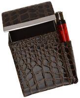 Brown Croc Leather Cigarette Hard Case Flip Top Lighter Holder Smoke Carrying