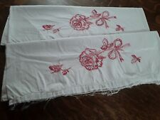 Vtg Embroidered Tube Pillowcases 2 w/Pink Roses hemmed Pearl Edge Needs Crochet