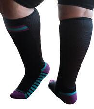 67fe83a689 Xpandasox Plus Size/lymphedema Socks 24 Inches at Calf Black Purple Size  10-12