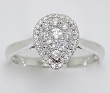18k WHITE GOLD PEAR CLUSTER HALO DIAMOND ENGAGEMENT RING