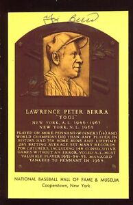 SIGNED Auto HOF Plaque Yellow Postcard YOGI BERRA New York Yankees C15