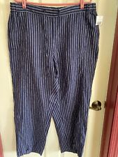 NWOT Coldwater Creek Dark Blue White Striped Linen Pants Size Large Petite
