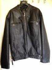 Milan - Black Leather Biker Jacket - Large