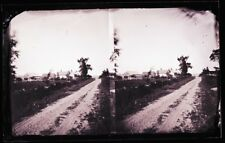 ANTIQUE GLASS NEGATIVE, FC PHILPOT, LIMERICK ME., DIRT ROAD AND FARM STEREOVIEW