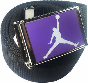 Jordan Jumpman Purple White Belt Buckle Bottle Opener Adjustable Web Belt